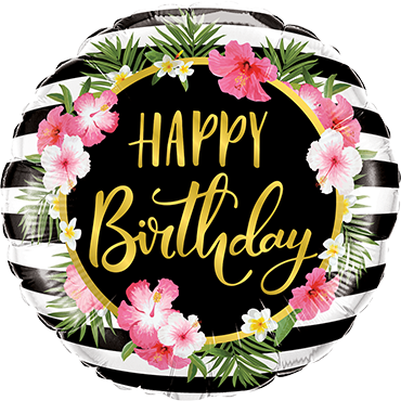 Birthday Hibiscus Stripes Foil Round 18in/45cm