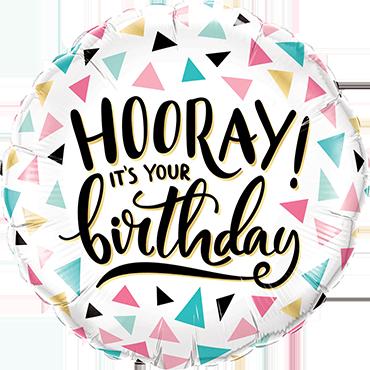 Birthday Hooray! Foil Round 18in/45cm