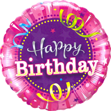 Birthday Hot Pink Foil Round 18in/45cm