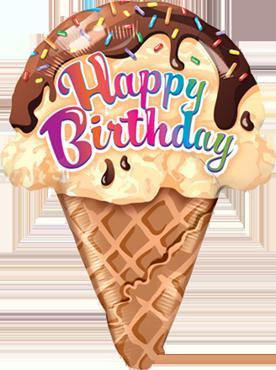 Birthday Ice Cream Cone Foil Shape 27in/69cm