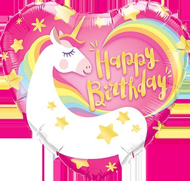 Birthday Magical Unicorn Foil Heart 18in/45cm