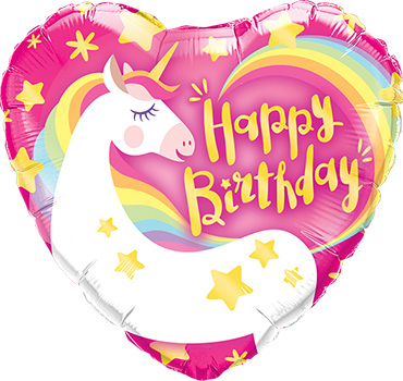 Birthday Magical Unicorn Foil Heart 9in/22.5cm