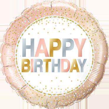 Birthday Metallic Dots Foil Round 18in/45cm
