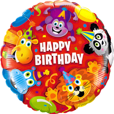 Birthday Party Animals Foil Round 18in/45cm