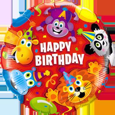 Birthday Party Animals Foil Round 18in/45cm