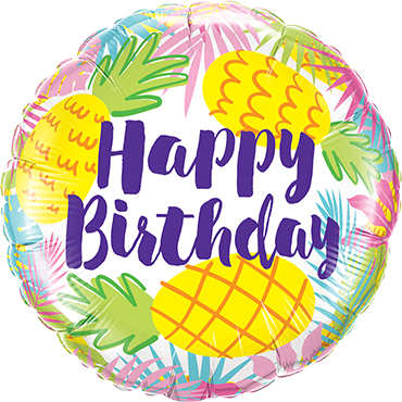 Birthday Pineapples Foil Round 18in/45cm