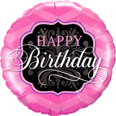 Birthday Pink and Black Foil Round 18in/45cm
