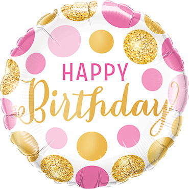 Birthday Pink and Gold Dots Foil Round 9in/22.5cm