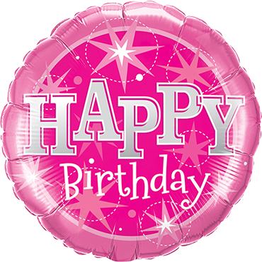 Birthday Pink Sparkle Foil Round 9in/22.5cm