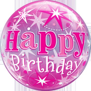 Birthday Pink Starburst Sparkle Single Bubble 22in/55cm