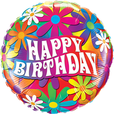 Birthday Psychedelic Daisies Foil Round 9in/22.5cm