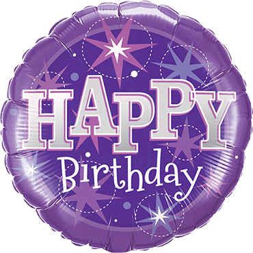 Birthday Purple Sparkle Foil Round 9in/22.5cm