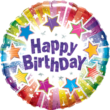 Birthday Radiant Stars Holographic Foil Round 9in/22.5cm