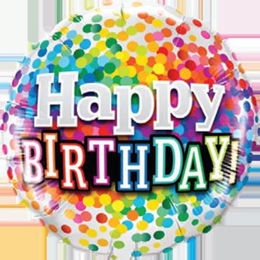 Birthday Rainbow Confetti Foil Round 18in/45cm