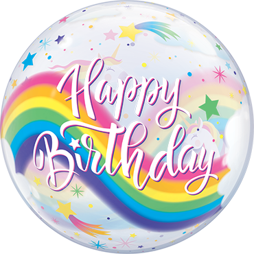 Birthday Rainbow Unicorns Single Bubble 22in/55cm