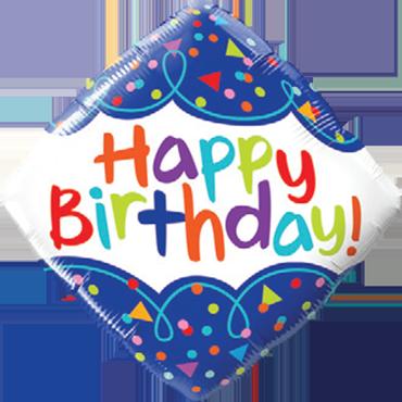 Birthday Scribble Confetti Foil Diamond 18in/45cm