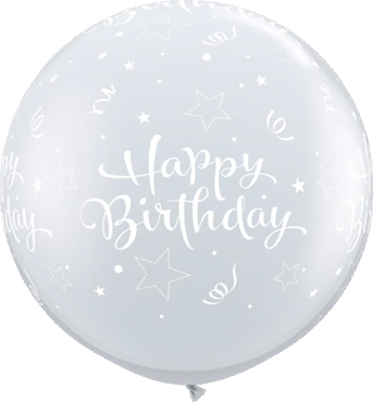 Birthday Shining Star Crystal Diamond Clear (Transparent) Latex Round 36in/90cm