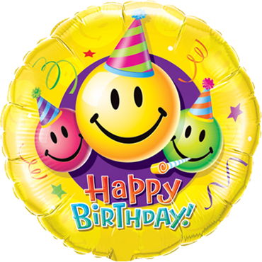 Birthday Smiley Faces Foil Round 18in/45cm