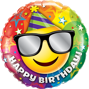 Birthday Smiley Foil Round 9in/22.5cm