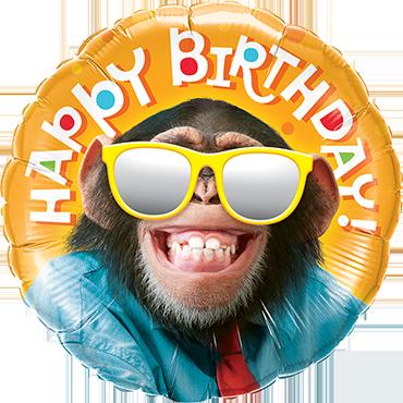 Birthday Smilin' Chimp Foil Round 9in/22.5cm