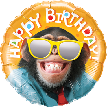 Birthday Smilin Chimp Stars Foil Round 18in/45cm