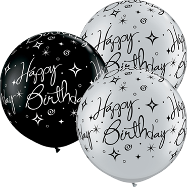 Birthday Sparkle and Swirls Fashion Onyx Black and Metallic Silver Assortment Latex Round 36in/90cm