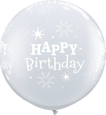 Birthday Sparkle Diamond Clear Latex Round 36in/90cm
