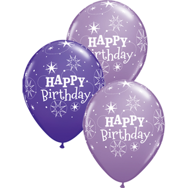 Birthday Sparkle Fashion Purple Violet and Fashion Spring Lilac Assortment Latex Round 11in/27.5cm