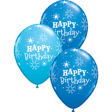 Birthday Sparkle Fashion Robins Egg Blue and Standard Dark Blue Assortment Latex Round 11in/27.5cm
