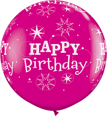 Birthday Sparkle Fashion Wild Berry Latex Round 36in/90cm