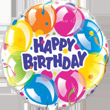 Birthday Sparkling Balloons Foil Round 18in/45cm