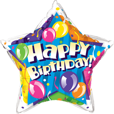 Birthday! Sparkling Balloons Foil Star 20in/50cm