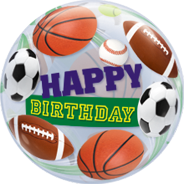 Birthday Sports Balls Single Bubble 22in/55cm