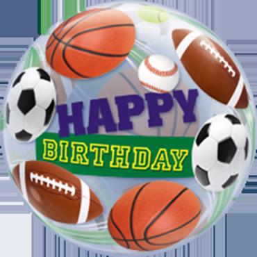 Birthday Sports Balls Single Bubble 22in/55cm