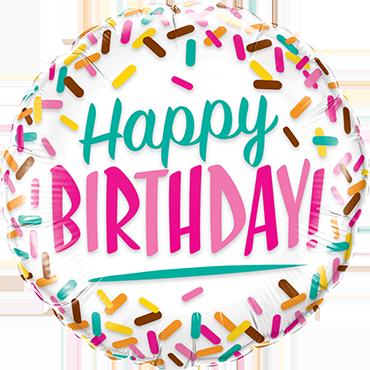 Birthday Sprinkles Foil Round 18in/45cm
