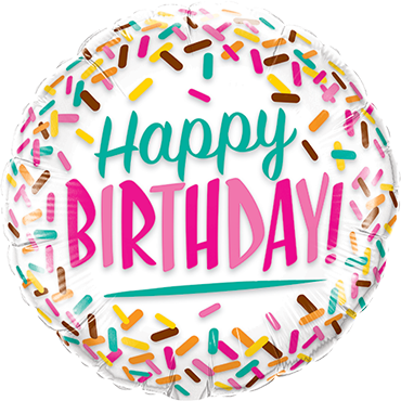 Birthday Sprinkles Foil Round 9in/22.5cm