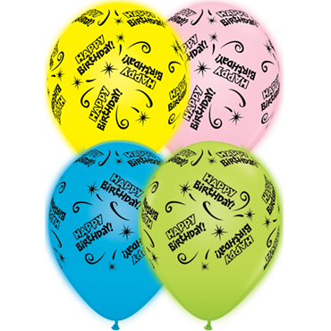 Birthday Standard Yellow, Standard Pink, Standard Pale Blue and Standard Green Assortment Q-Lite Latex Round 11in/27.5cm