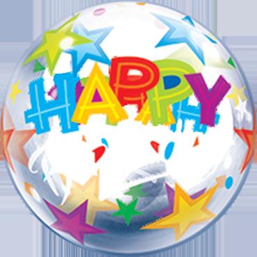 Birthday Stars Air Bubble 12in/30cm