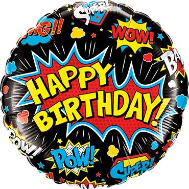 Birthday Super Hero Black Foil Round 18in/45cm