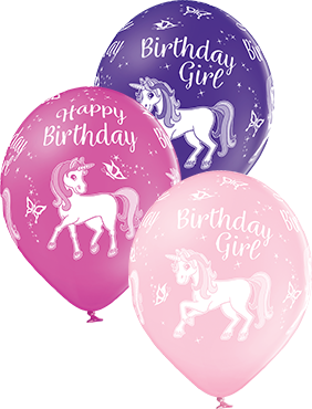 Birthday Unicorn Pastel Pink, Pastel Rose and Pastel Royal Lilac Assortment Latex Round 12in/30cm