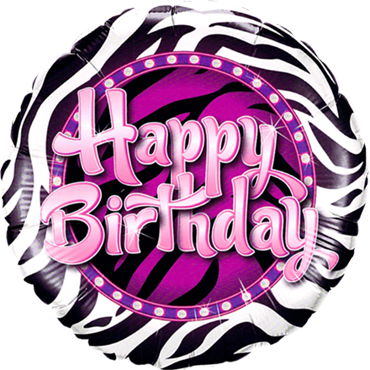 Birthday Zebra Print Foil Round 18in/45cm