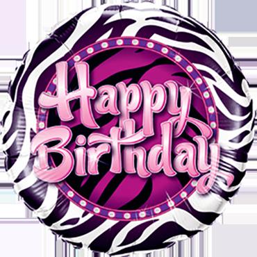 Birthday Zebra Print Foil Round 9in/22.5cm