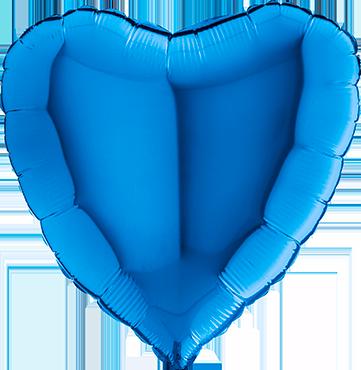 Blue Foil Heart 18in/45cm