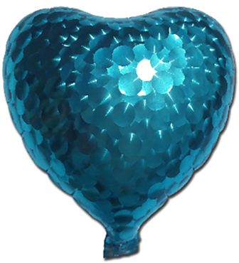 Blue Jewelry Holographic Foil Heart 7in/17.5cm
