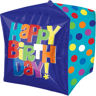 Bright Happy Birthday Cake Cubez 15in/38cm x 15in/38cm