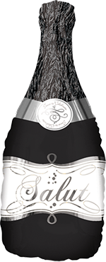 Bubbly Wine Bottle Black Foil Shape 36in/90cm
