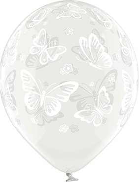 Butterflies Crystal Clear (Transparent) Latex Round 12in/30cm