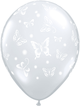 Butterflies Crystal Diamond Clear (Transparent) Latex Round 16in/40cm