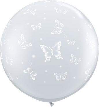 Butterflies Crystal Diamond Clear (Transparent) Latex Round 36in/90cm