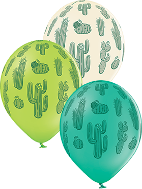 Cactus Pastel Forest Green, Pastel White and Pastel Apple Green Assortment Latex Round 12in/30cm
